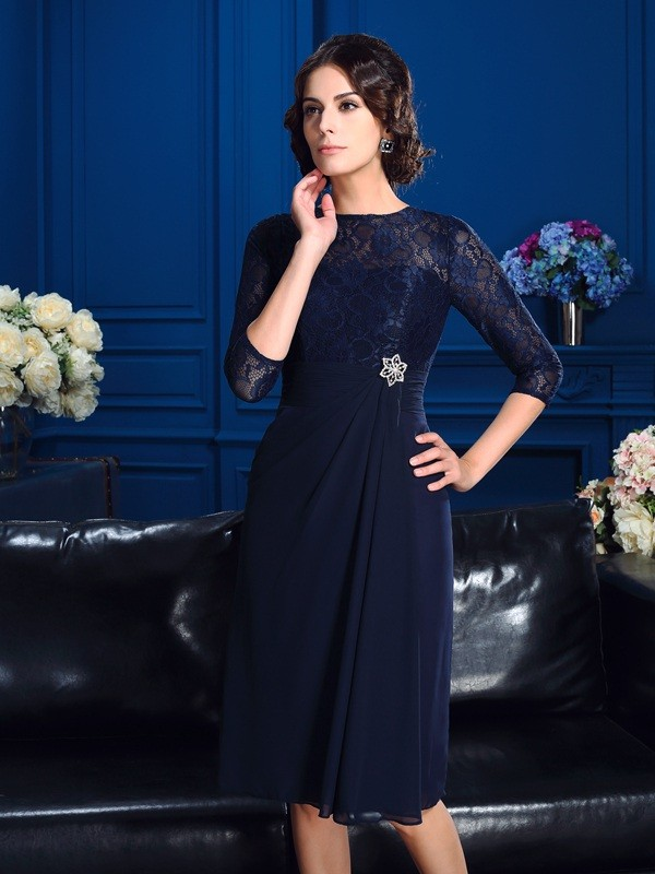 Knee-Length A-Line/Princess Jewel 3/4 Sleeves Lace Chiffon Mother of the Bride Dresses