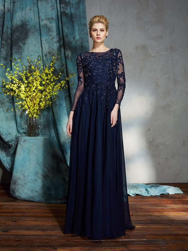 Floor-Length A-Line/Princess Scoop 3/4 Sleeves Applique Chiffon Mother of the Bride Dresses