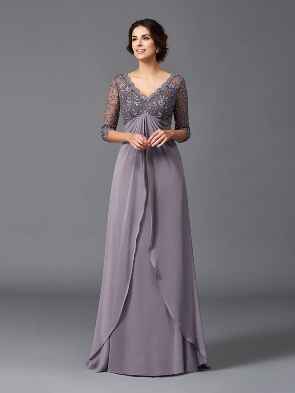 Floor-Length A-Line/Princess V-neck 3/4 Sleeves Lace Chiffon Mother of the Bride Dresses