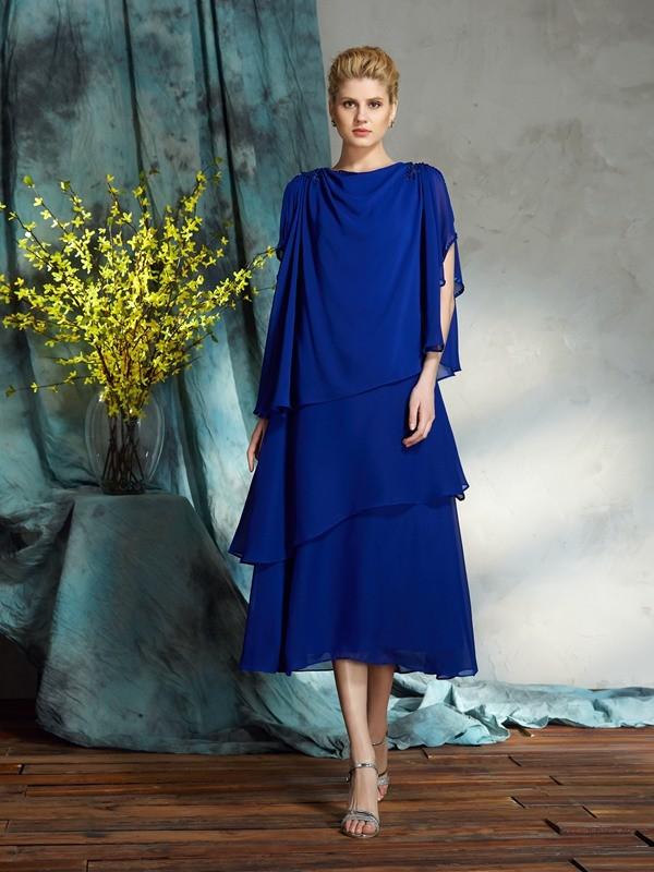 Knee-Length A-Line/Princess Bateau Sleeveless Applique Chiffon Mother of the Bride Dresses