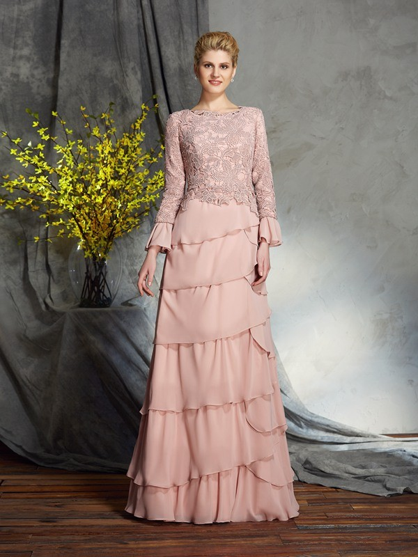 Floor-Length Sheath/Column Scoop Long Sleeves Ruffles Chiffon Mother of the Bride Dresses