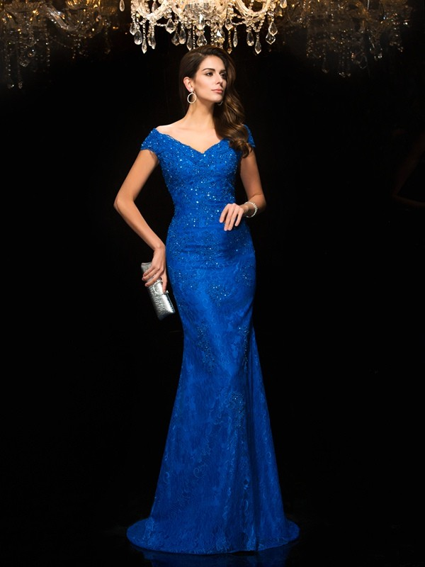 Sweep/Brush Train Trumpet/Mermaid V-neck Sleeveless Lace Mother of the Bride Dresses