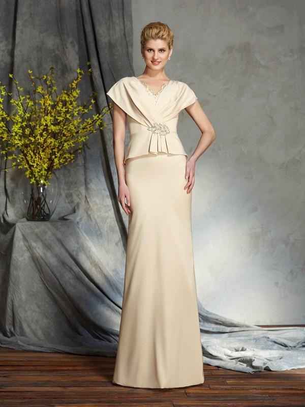 Floor-Length Sheath/Column V-neck Short Sleeves Beading Silk like Satin Mother of the Bride Dresses