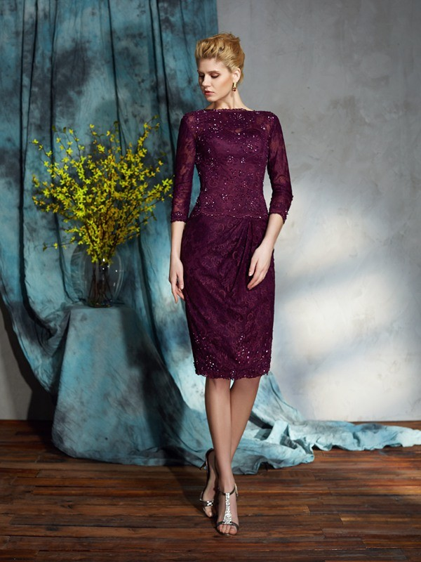 Knee-Length Sheath/Column Bateau 3/4 Sleeves Lace Mother of the Bride Dresses