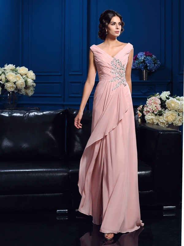 Sweep Train A-Line/Princess V-neck Sleeveless Beading Chiffon Mother of the Bride Dresses