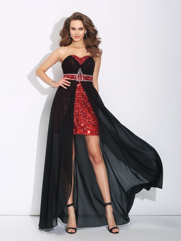 Asymmetrical A-Line/Princess Sweetheart Sleeveless Sequin Chiffon Dresses