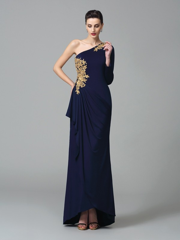 Floor-Length Sheath/Column One-Shoulder Long Sleeves Embroidery Spandex Dresses