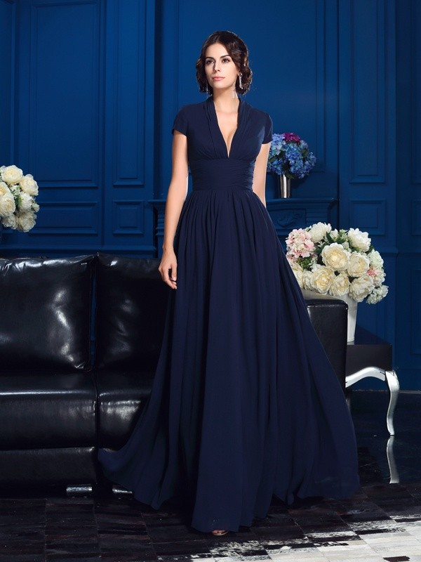 Floor-Length A-Line/Princess V-neck Short Sleeves Applique Chiffon Mother of the Bride Dresses