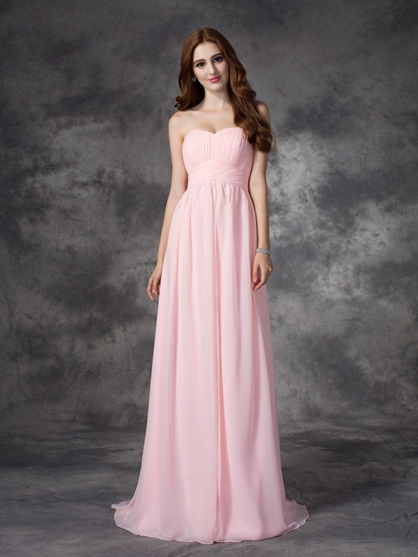 Sweep/Brush Train A-Line/Princess Sweetheart Sleeveless Ruched Chiffon Dresses
