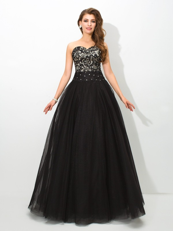 Floor-Length Ball Gown Sweetheart Sleeveless Lace Net Dresses