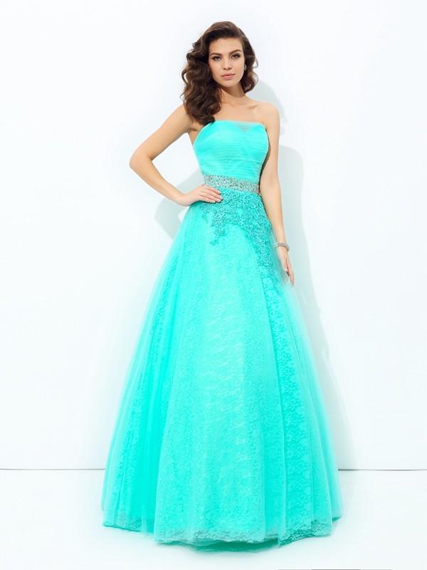 Floor-Length A-Line/Princess Strapless Sleeveless Beading Elastic Woven Satin Dresses