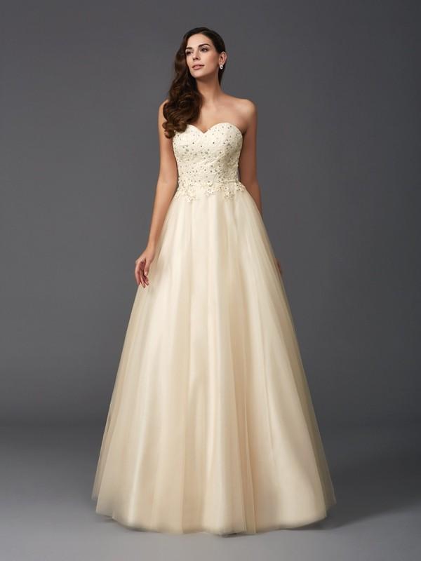 Floor-Length A-Line/Princess Sweetheart Sleeveless Beading Net Dresses