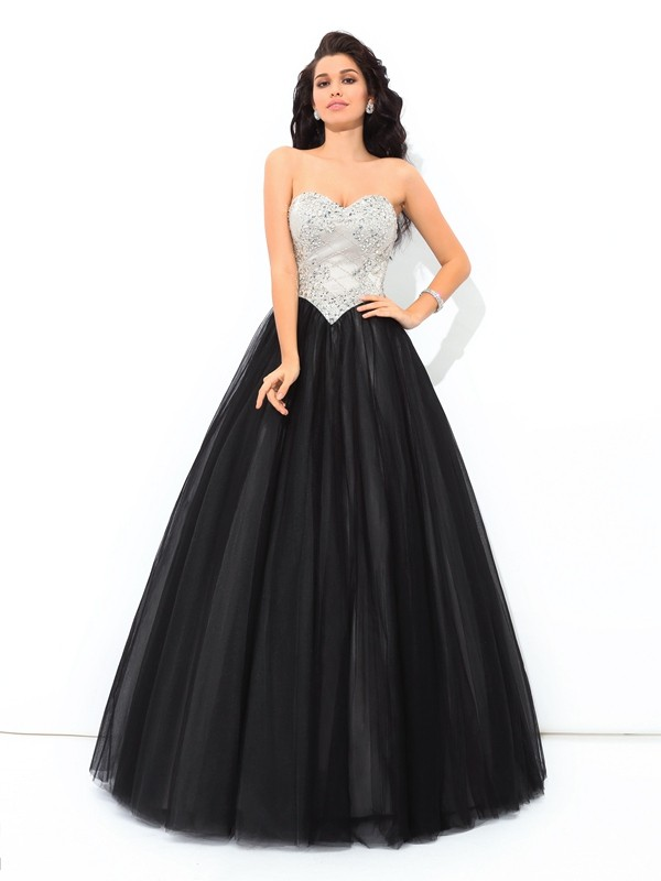 Floor-Length Ball Gown Sweetheart Sleeveless Paillette Net Dresses