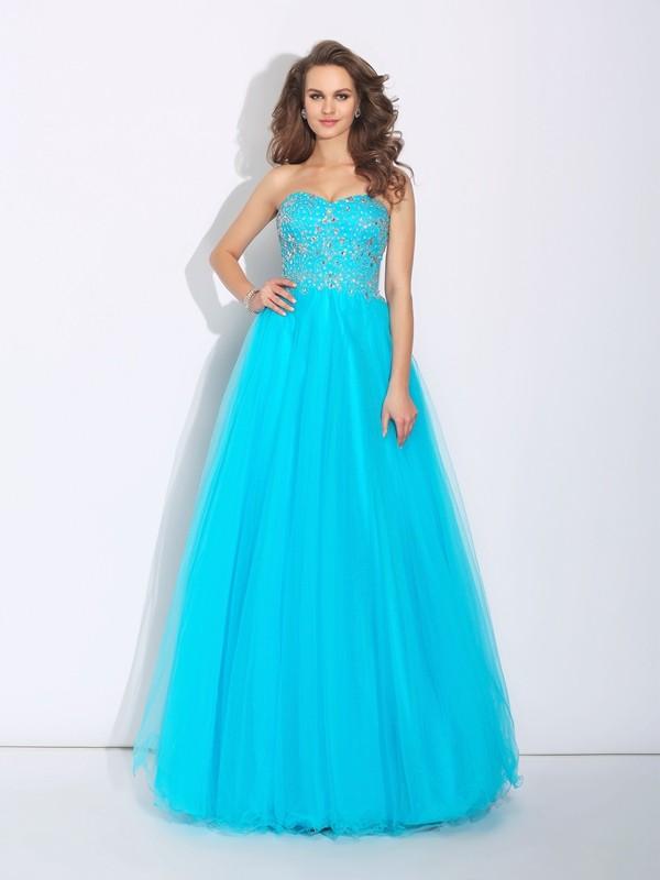 Floor-Length A-Line/Princess Sweetheart Sleeveless Rhinestone Satin Dresses