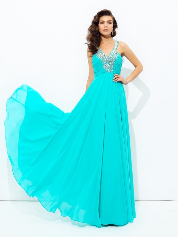 Floor-Length A-Line/Princess V-neck Sleeveless Paillette Chiffon Dresses