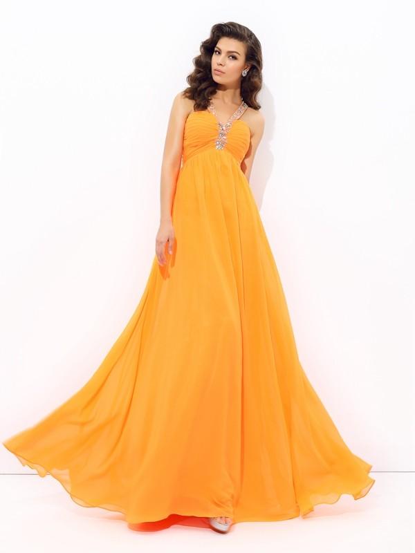 Floor-Length A-Line/Princess V-neck Sleeveless Rhinestone Chiffon Dresses