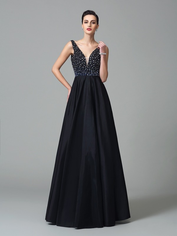 Floor-Length A-Line/Princess Straps Sleeveless Beading Taffeta Dresses