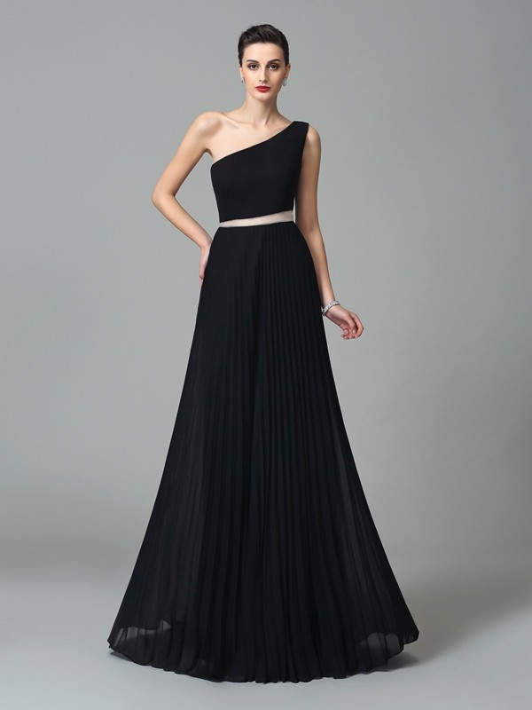 Floor-Length A-Line/Princess One-Shoulder Sleeveless Pleats Chiffon Dresses