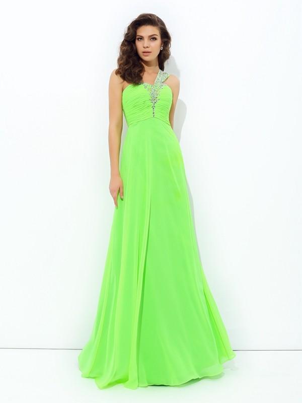 Floor-Length A-Line/Princess One-Shoulder Sleeveless Rhinestone Chiffon Dresses