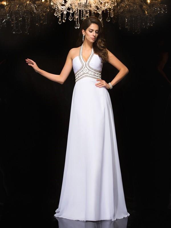 Floor-Length A-Line/Princess Halter Sleeveless Other Chiffon Dresses