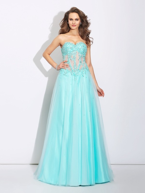 Sweep/Brush Train A-Line/Princess Sweetheart Sleeveless Lace Net Dresses