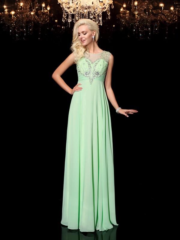 Floor-Length A-Line/Princess Scoop Sleeveless Beading Chiffon Dresses
