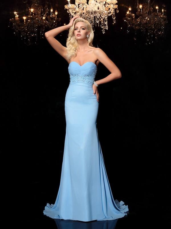 Sweep/Brush Train Trumpet/Mermaid Sweetheart Sleeveless Rhinestone Chiffon Dresses