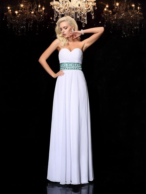 Floor-Length A-Line/Princess Sweetheart Sleeveless Rhinestone Chiffon Dresses