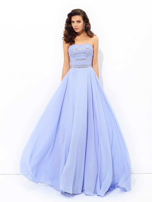 Sweep/Brush Train A-Line/Princess Strapless Sleeveless Beading Chiffon Dresses