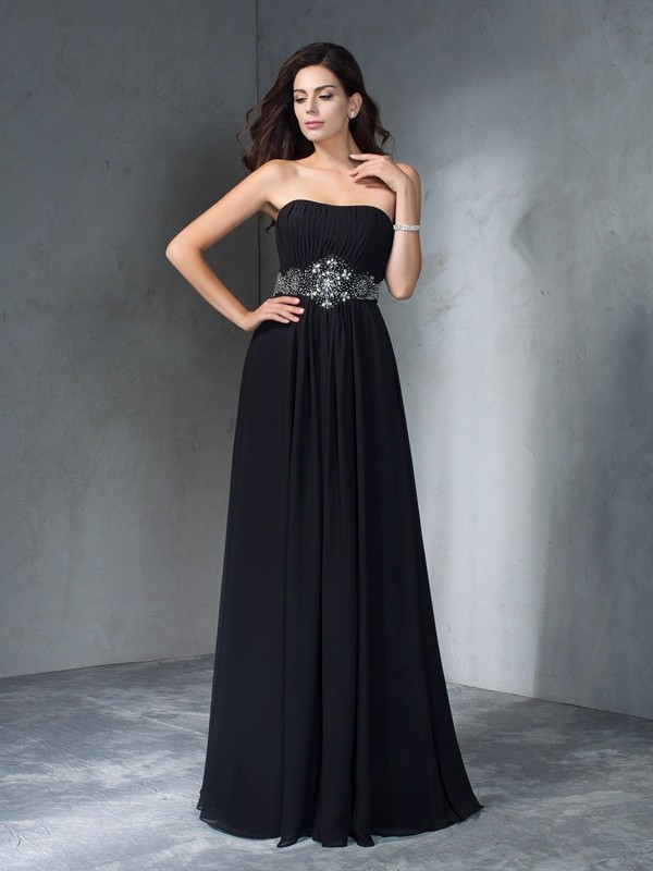 Floor-Length A-Line/Princess Strapless Sleeveless Beading Chiffon Dresses