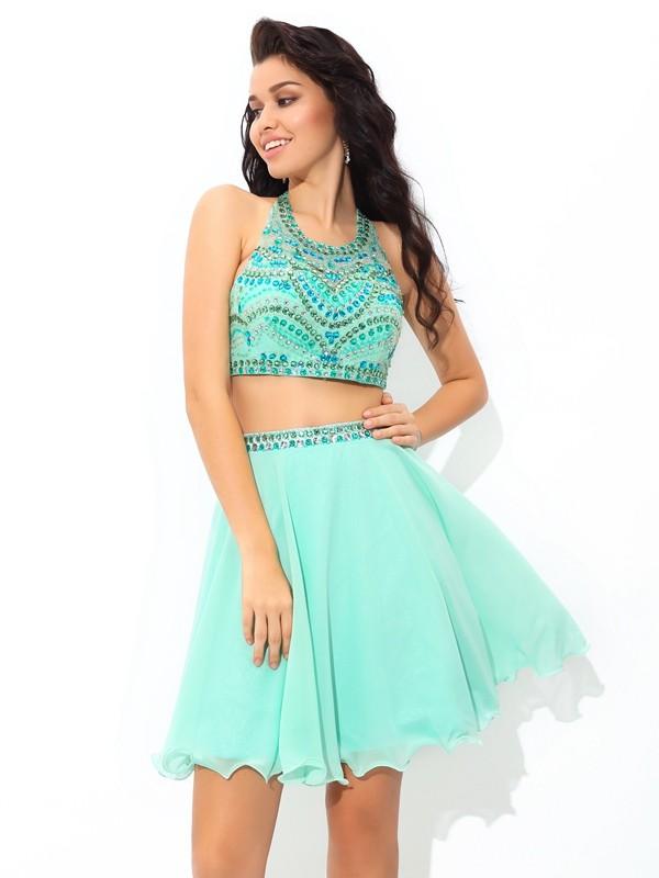 Short/Mini A-Line/Princess Sheer Neck Sleeveless Rhinestone Chiffon Dresses