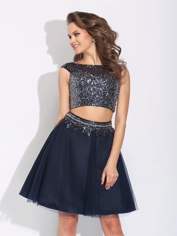 Short/Mini A-Line/Princess Bateau Sleeveless Beading Net Dresses