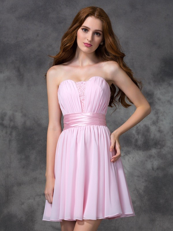 Short/Mini A-Line/Princess Sweetheart Sleeveless Ruched Chiffon Dresses