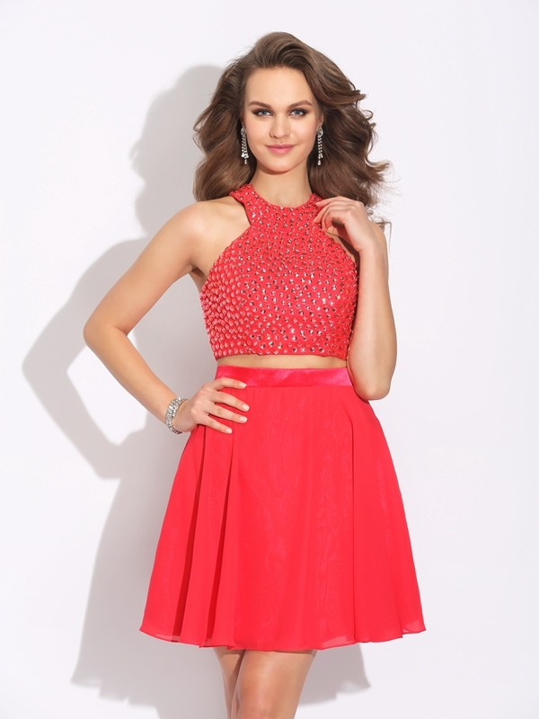 Short/Mini A-Line/Princess Jewel Sleeveless Crystal Chiffon Dresses