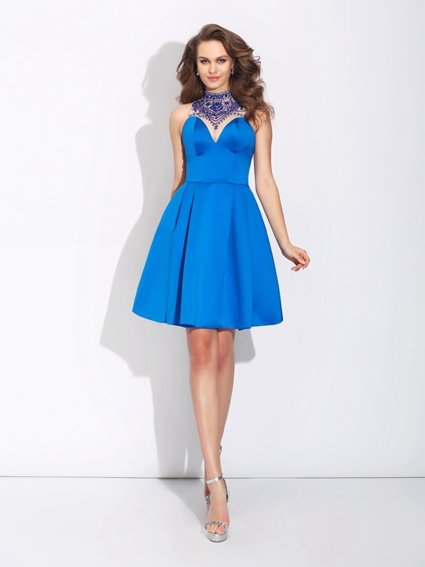 Short/Mini A-Line/Princess High Neck Sleeveless Beading Satin Dresses