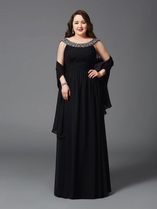 Floor-Length A-Line/Princess Scoop Sleeveless Rhinestone Chiffon Dresses