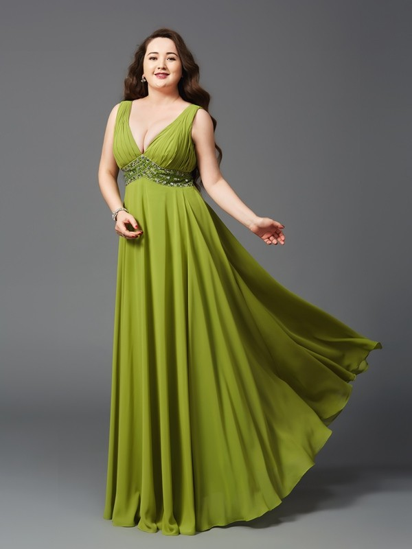 Floor-Length A-Line/Princess Straps Sleeveless Rhinestone Chiffon Dresses