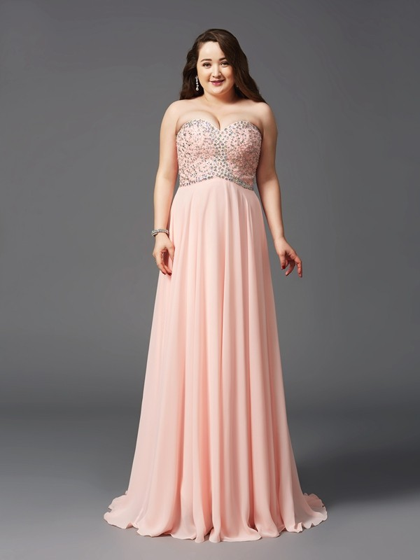 Sweep/Brush Train A-Line/Princess Sweetheart Sleeveless Beading Chiffon Dresses