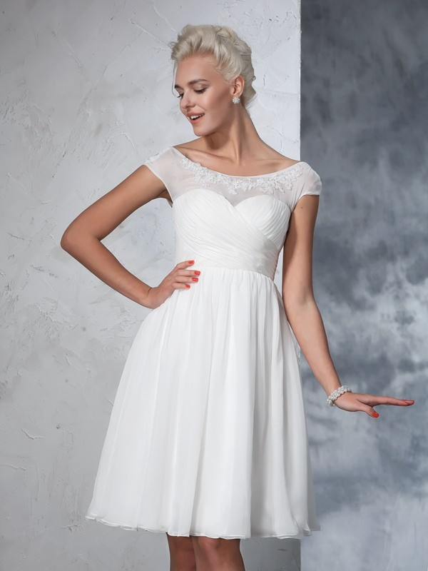 Knee-Length A-Line/Princess Sheer Neck Short Sleeves Ruched Chiffon Wedding Dresses