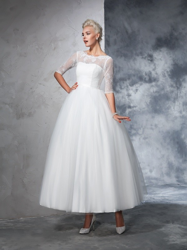 Ankle-Length Ball Gown Bateau 1/2 Sleeves Lace Net Wedding Dresses