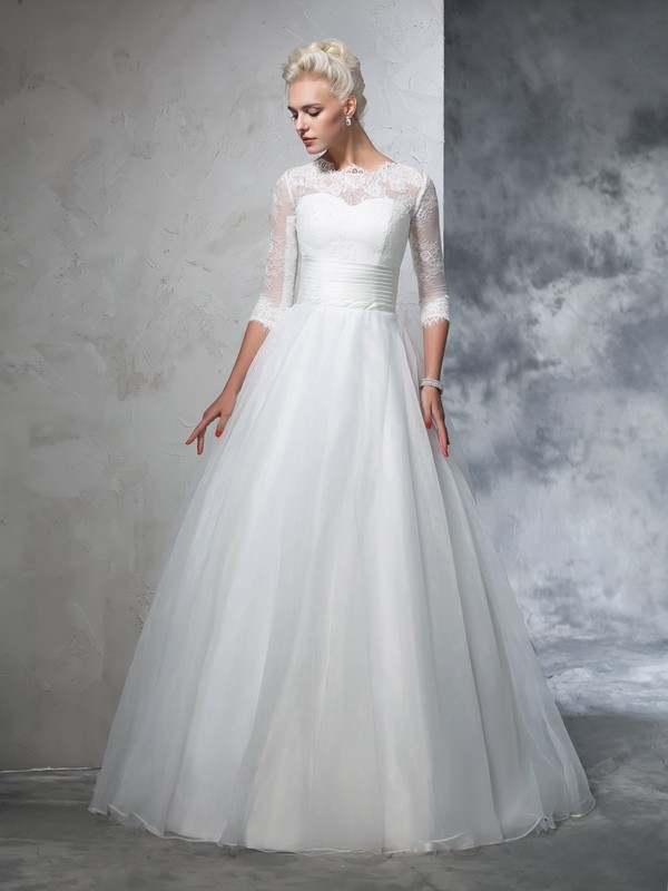 Floor-Length Ball Gown Jewel 3/4 Sleeves Applique Organza Wedding Dresses