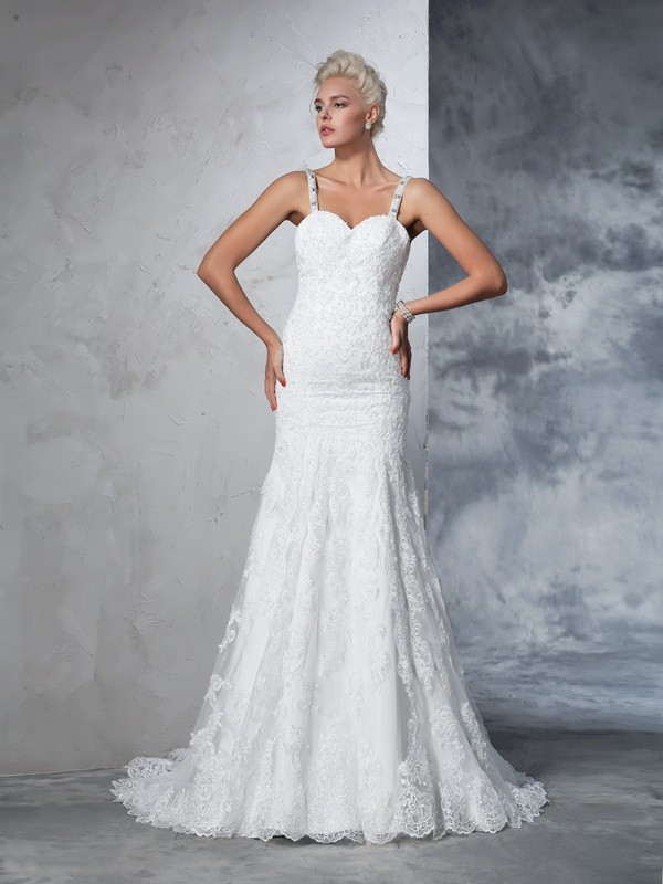 Chapel Train Trumpet/Mermaid Spaghetti Straps Sleeveless Lace Wedding Dresses