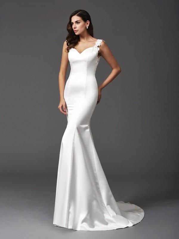 Sweep/Brush Train Trumpet/Mermaid Straps Sleeveless Beading Satin Wedding Dresses