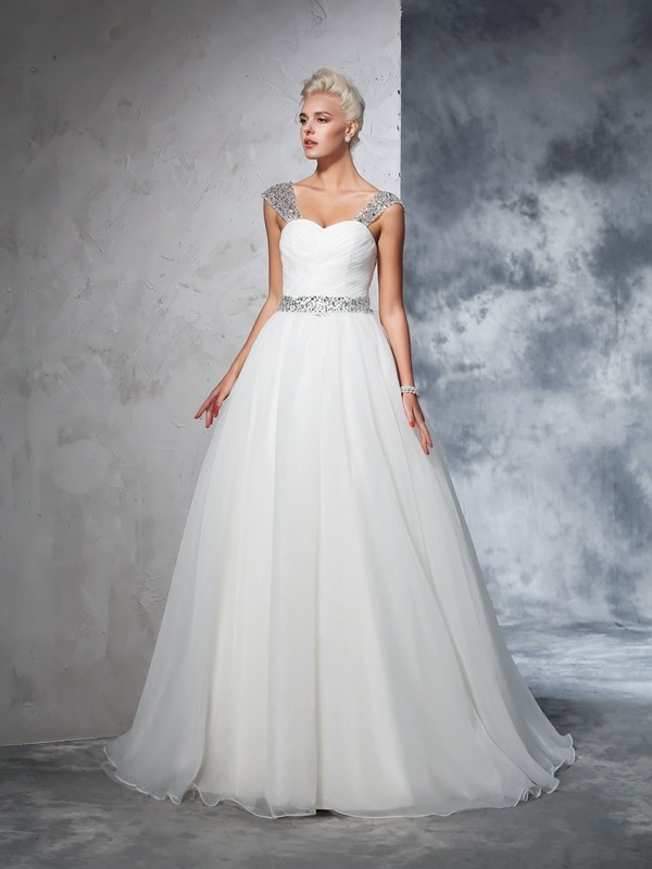 Chapel Train Ball Gown Straps Sleeveless Ruched Net Wedding Dresses