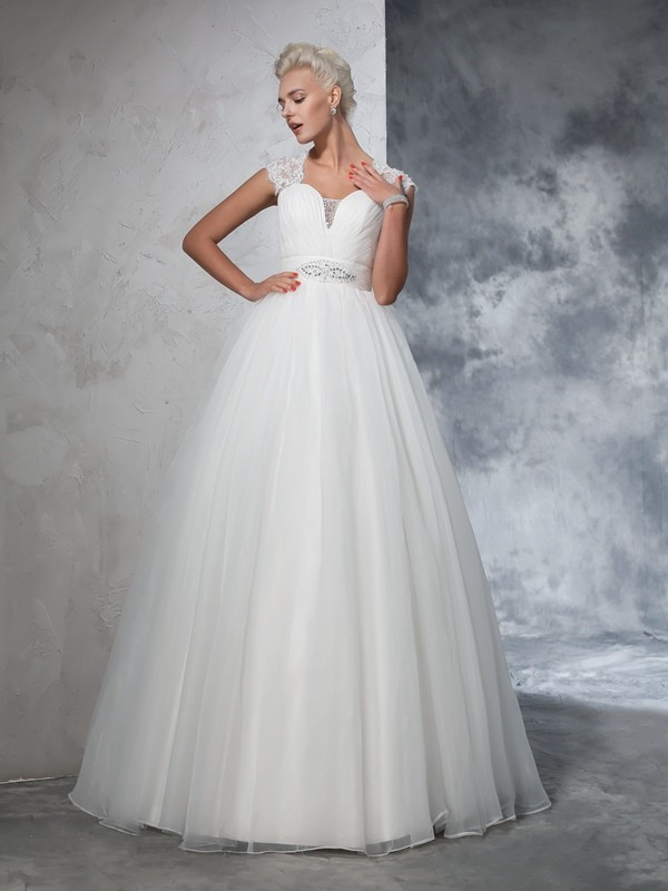 Sweep/Brush Train Ball Gown Sweetheart Sleeveless Ruched Tulle Wedding Dresses
