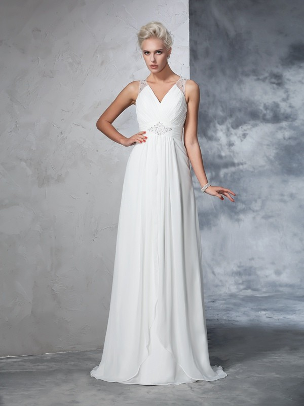 Sweep/Brush Train A-Line/Princess V-neck Sleeveless Ruched Chiffon Wedding Dresses