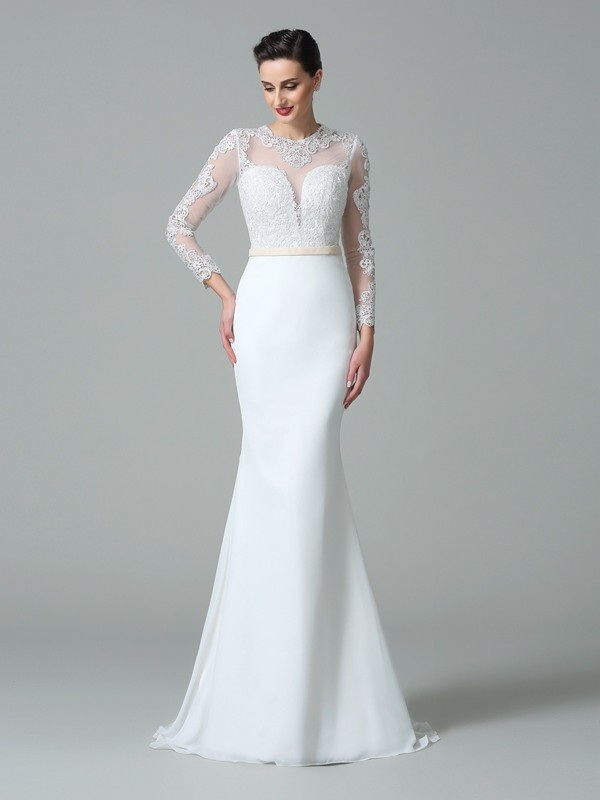 Sweep/Brush Train Trumpet/Mermaid Jewel Long Sleeves Lace Satin Wedding Dresses