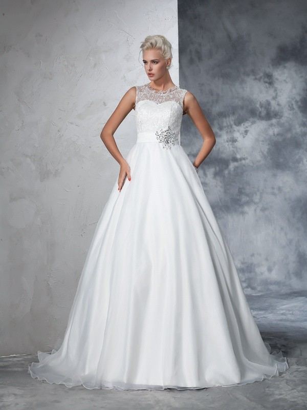 Chapel Train Ball Gown Sheer Neck Sleeveless Lace Net Wedding Dresses
