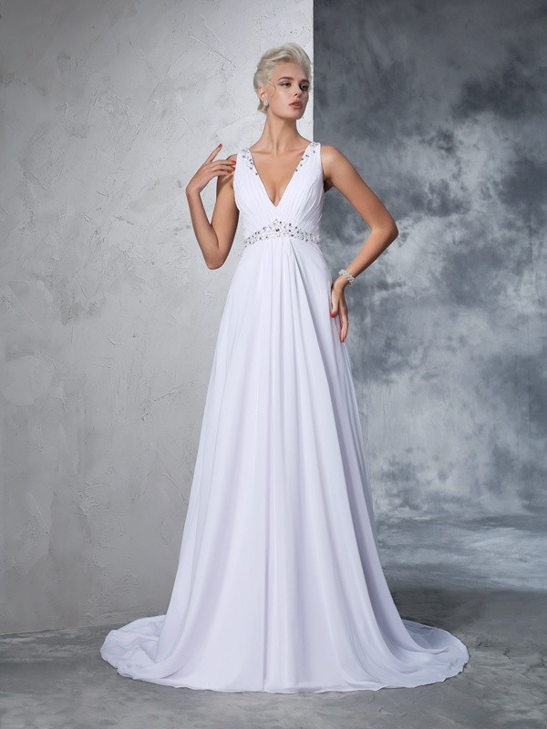 Cathedral Train A-Line/Princess V-neck Sleeveless Beading Chiffon Wedding Dresses