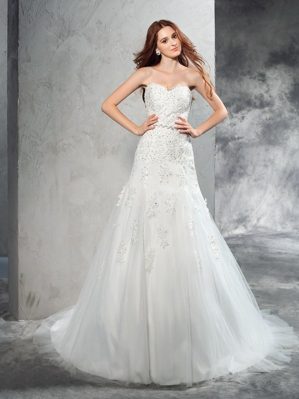 Court Train Sheath/Column Sweetheart Sleeveless Applique Satin Wedding Dresses